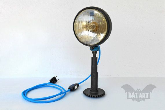 BAT™ ART Desk lamp vintage car headlight - Lighting Fixture - Cyan blue textile wire - E14 copper lamp holder - Metal base military gearbox - Product Dimensions 35cm Height x 15cm Wide 2.2 kg weight  by Think4HandmadeArt