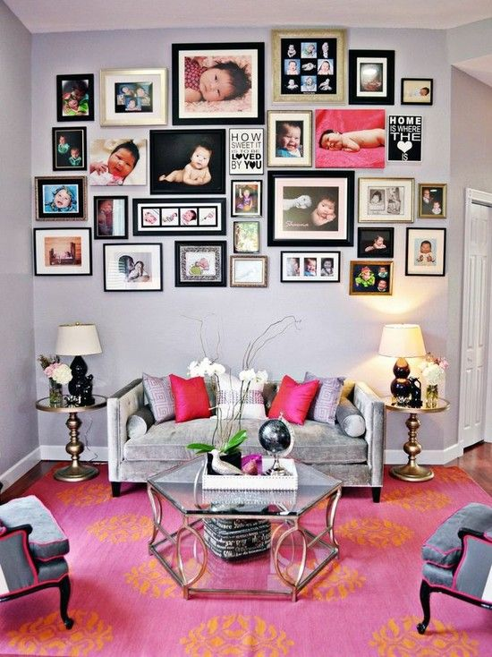 Creating Your Beautiful Interior Design With Stunning Wall Picture Collage Ideas: Ravishing Wall Family Pictures For Wall Decoration Ideas And Comfy Cozy Grey Sofa And Beautiful Classic Desk Lamps Shade ~ bubaraba.com Apartment Inspiration
