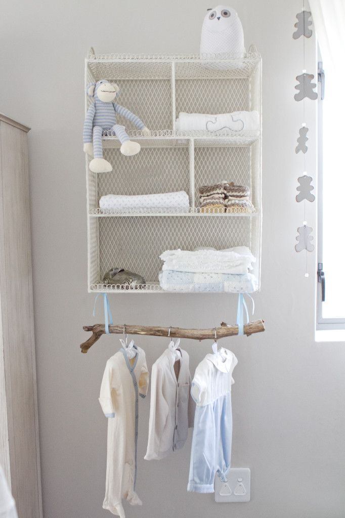 Project Nursery - Vintage Wire Cubby Shelf with Tree Branch Clothing Rack