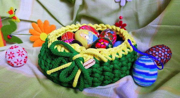 Easter Basket, Basket for Eggs, Home Decor, Handmade Original Basket, Home Organizer, Crochet Basket, Knitted Basket, Nice and Original Gift by VioletaOwl on Etsy