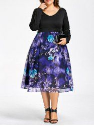 Plus Size Flower Printed Long Sleeve Dress
