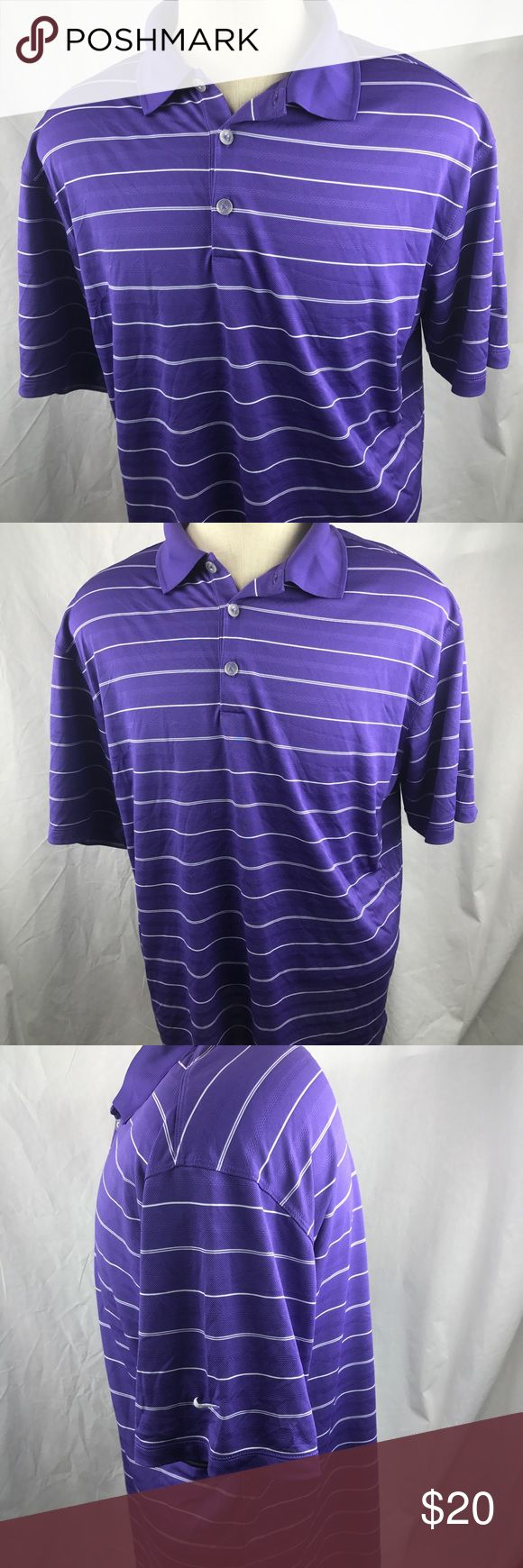 "Nike Golf polo shirt large Dri Fit purple striped Nike Golf Polo Shirt in very good condition with no stains or flaws.      Chest:  22""  Length:  28""    Thanks for looking!     e Nike Shirts Polos"