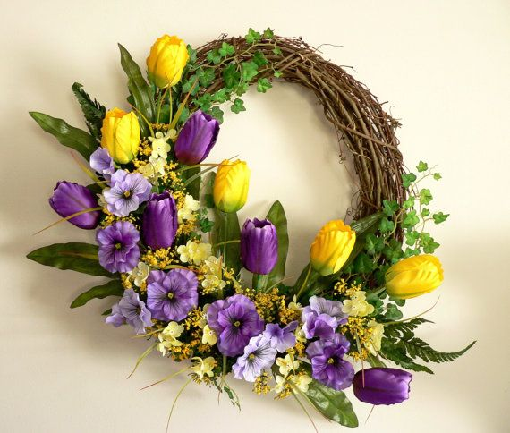 Tulip and Pansy Spring Wreath Front Door Wreath by Floralwoods, $58.00