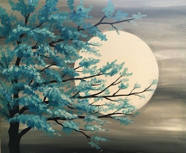 A painting of a tree and the moon.