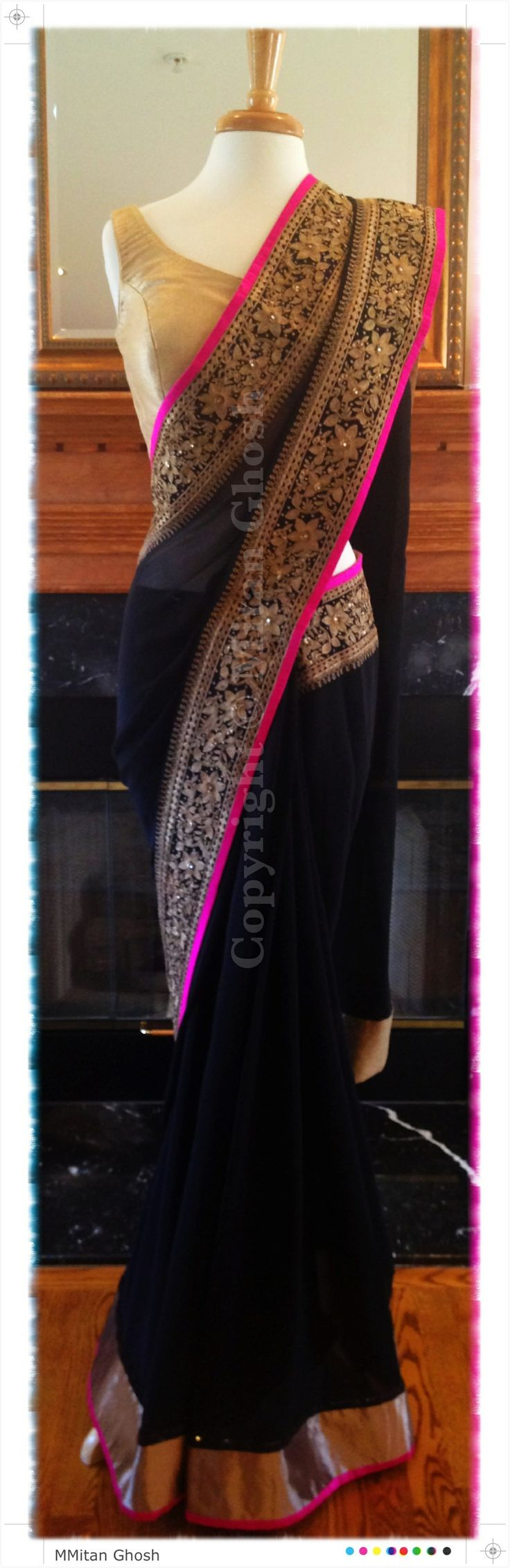 Beautiful Georgette Saree, with real gold zari work, gold brocade blouse.
