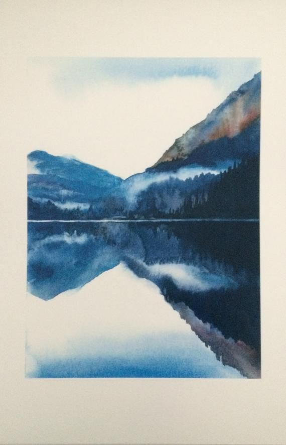 Pacific Northwest North Cascades Landscape Watercolor