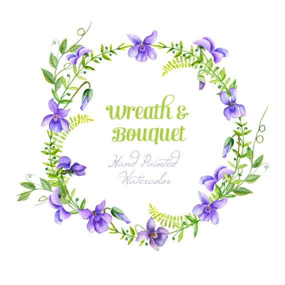 Viola Flowers Wreath  and Bouquet. Watercolor Clipart. Handpainted watercolor, wedding, invitations, greetings, romantic, frames
