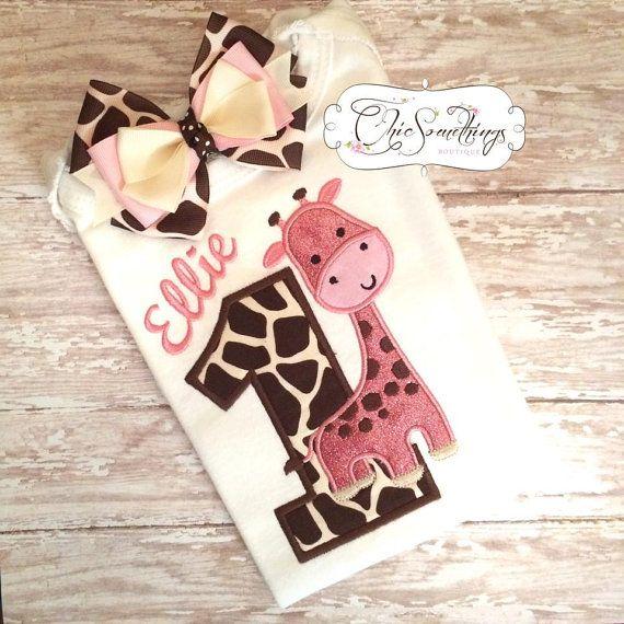 giraffe shirt pink giraffe birthday shirtpink by ChicSomethings
