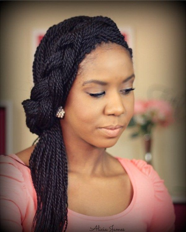 Wedding Hairstyles With Box Braids: Asymmetric Headband Braid From Thin Senegalese Twists