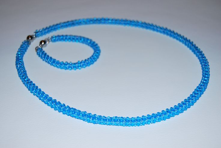 Beaded Jewelry Set (Necklace and Bracelet) made with TOHO beads - handmade using the Cubic Right Angle Weave (C-RAW) technique by BeaduBeadu on Etsy