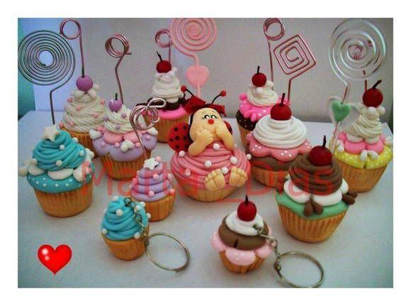 Cupcakes porte photo en fimo - inspiration