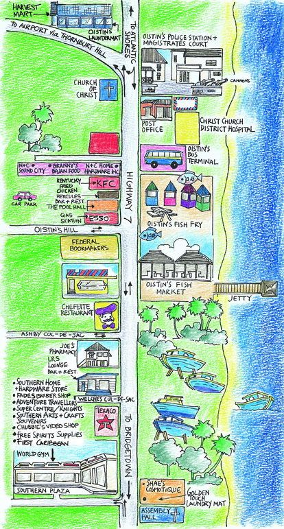 Barbados: Map of Oistins