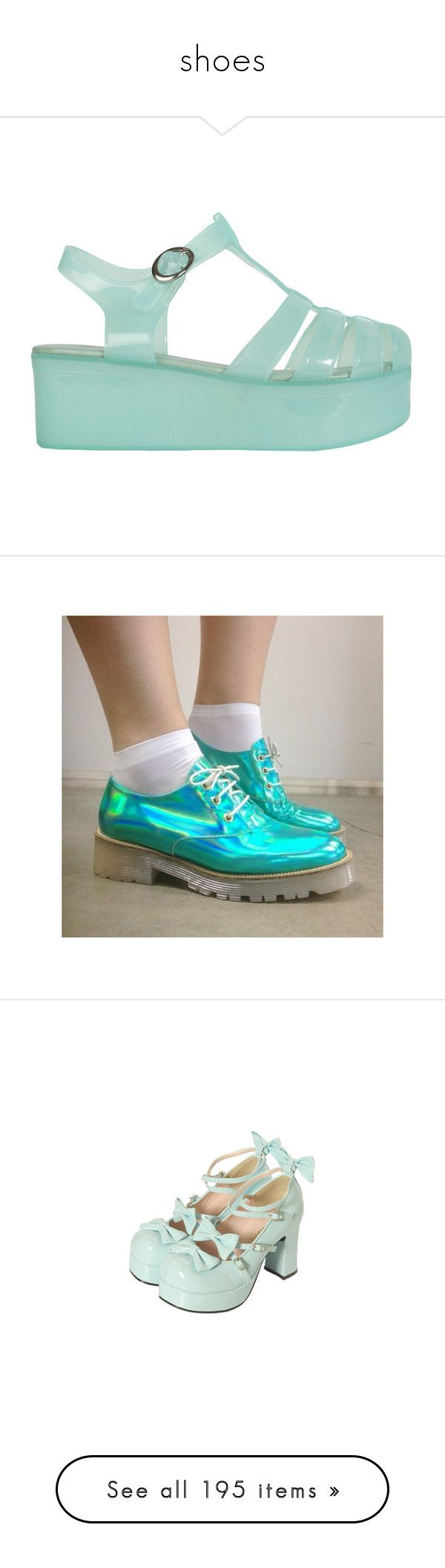 """""""shoes"""" by pastel-dream-hime ❤ liked on Polyvore featuring shoes, sandals, footwear, platform jelly shoes, mint sandals, jelly sandals, mint green shoes, platform sandals, pictures and photos"""