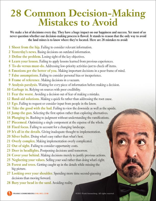 28 Common Decision-Making Mistakes to Avoid | Values to Live By | www.FrankSonnenbergOnline