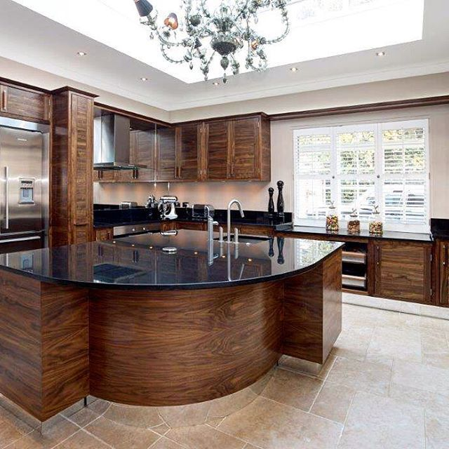 Angle number 2 from the beautiful walnut traditional kitchen with curved island. #kitchen #kitchendesign #kitchengoals #bespoke #furniture #madeinengland