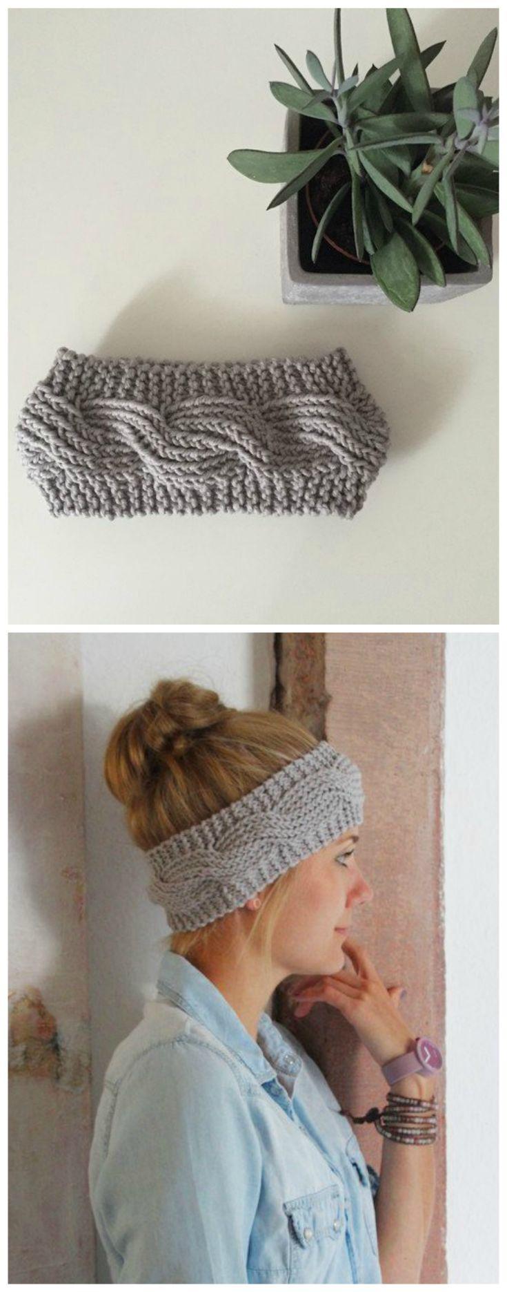 Gestricktes Stirnband aus Merinowolle, Winter Accessoire / winterly accessory: knitted headband in light grey made by die zimtbluete via DaWanda.com