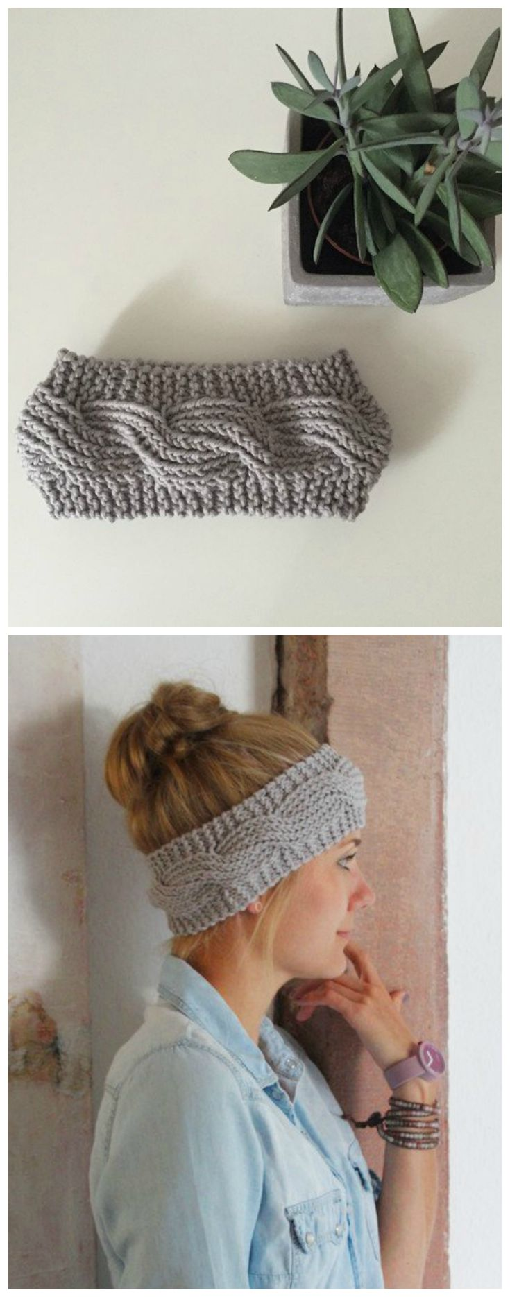 Gestricktes Stirnband aus Merinowolle, Winter Accessoire / winterly accessory: knitted headband in light grey made by die zimtbluete via DaWanda.com                                                                                                                                                                                 Mehr
