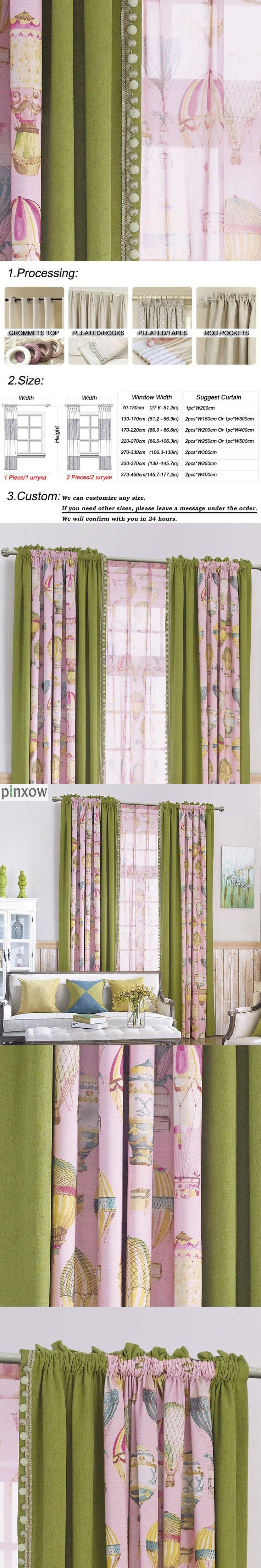 Lace Bedroom Window Curtains Children Room Semi Blackout Baby Kid Home Panels Green Pink Boy Girl Drapes Cartoon Room Darkening