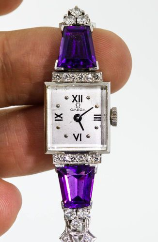 1930s Art Deco 10ct Amethyst Diamond Omega Platinum Ladies Watch.