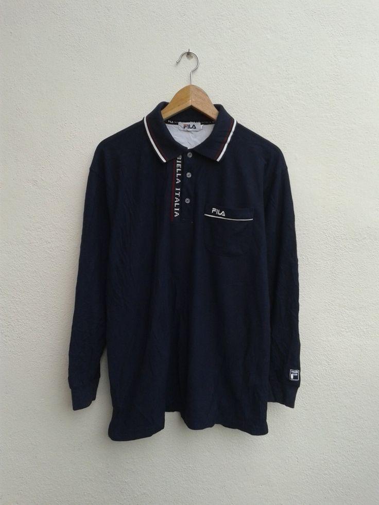 Vintage 90s FILA Biella Italia Tennis Sportswear Embroidered Logo Long  Sleeve Polos Shirt Size LL by