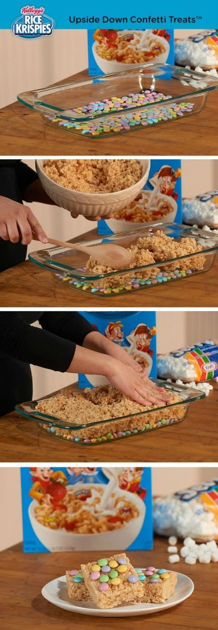 The easiest way to top Rice Krispies Treats™? Put topping in the bottom of the pan, press cereal mixture into pan, and flip the pan over!
