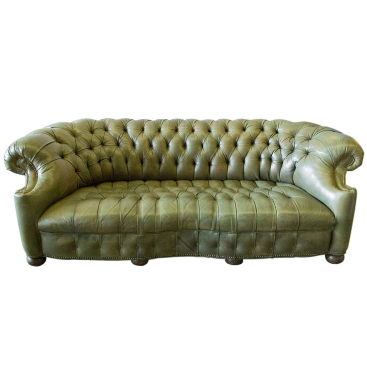 Recliner Sofa stdibs Olive Green Tufted Leather Chesterfield