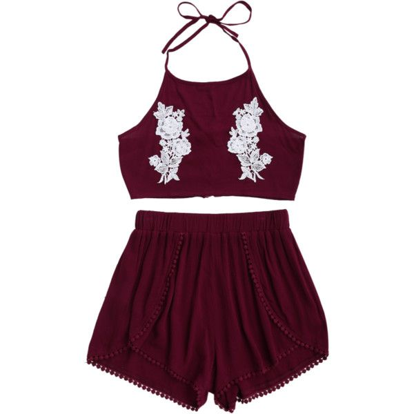 Lace Floral Halter Crop Top And Shorts ($14) ❤ liked on Polyvore featuring sets, floral two piece and lace two piece