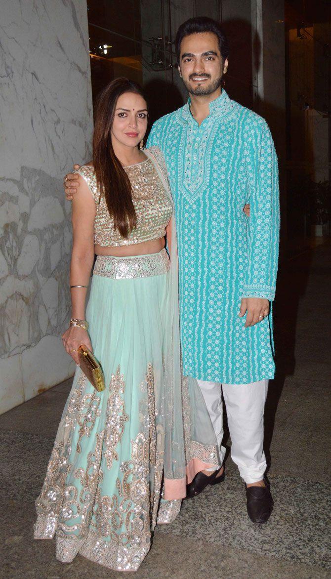Esha Deol with Bharat Takhtani at Baba Dewan's #Diwali bash. #Bollywood #Fashion #Style #Beauty #Hot #Desi