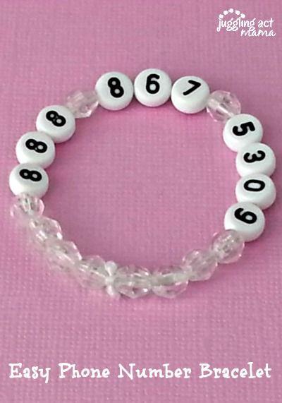 Easy Phone Number Bracelet from Juggling Act Mama #kidcraft @jugglingactmama