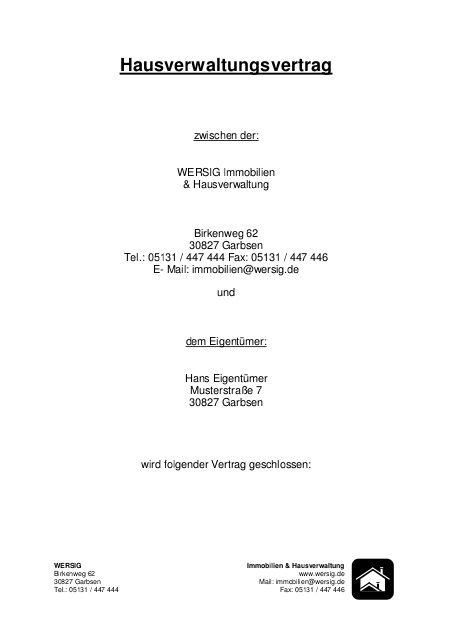Mustervertrag Mietverwaltung - Wersig Immobilien & Hausverwaltung https://www.yumpu.com/de/document/view/12628266/mustervertrag-mietverwaltung-wersig-immobilien-hausverwaltung