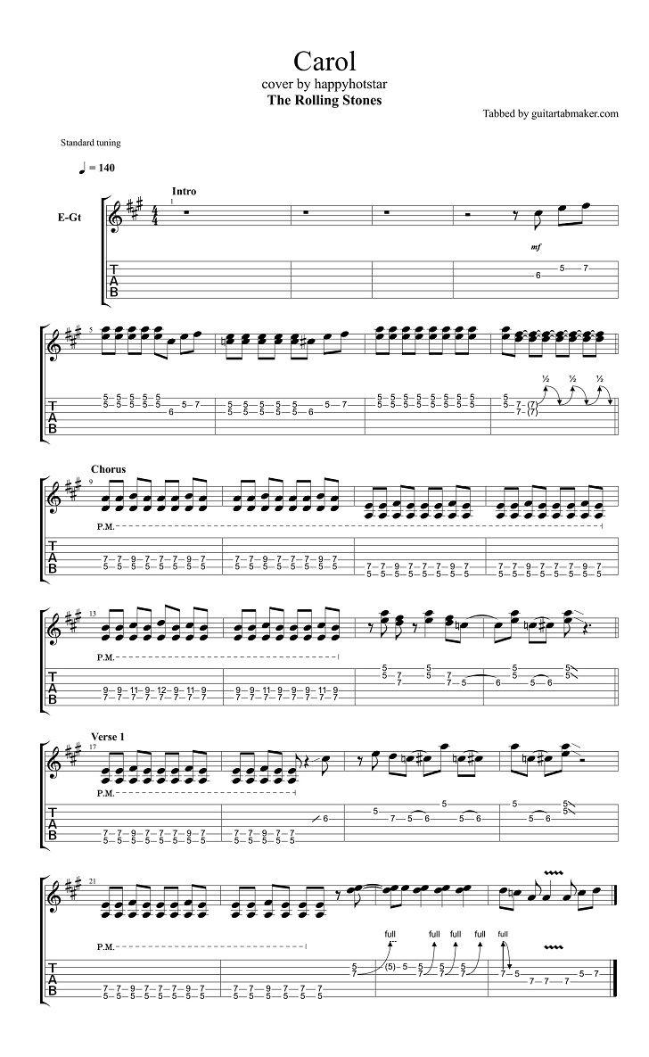 The Rolling Stones - Carol guitar tab - pdf guitar sheet music download - guitar pro tab