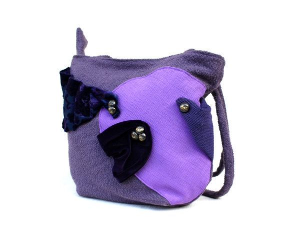Shoulder bag with double strap, handmade with purple furniture fabric, decorated with velvet fabric and bronzed buttons.