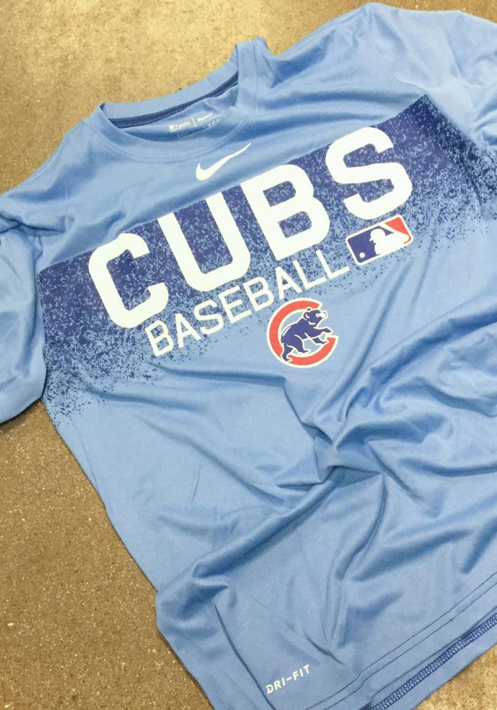 cheaper 4ccf1 e1eb2 Nike Chicago Cubs Light Blue AC LGD Team Issue Short Sleeve ...