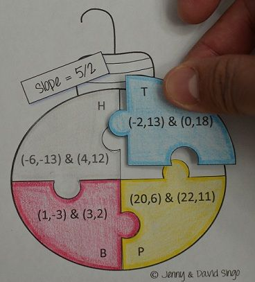 slope, slope activity, christmas slope, math activity, middle school math, christmas math