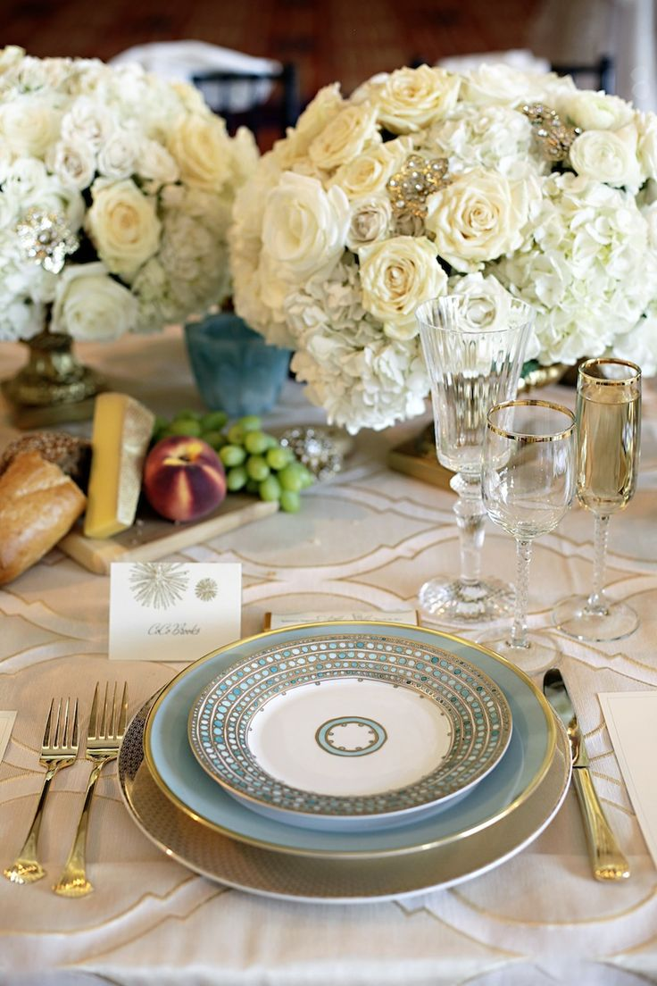 powder blue and gold table setting  Theme Inspiration:  Glam Goddess *Setting the table is part of a glamorous day!  Glamour is not limited to fashion. It is in essence, style, in all that we do.  I must go an prepare a meal for my mother-in-law who is visiting.  I just set the table beautifully. -Desiree, fictional character who lives a life of glamour by choice