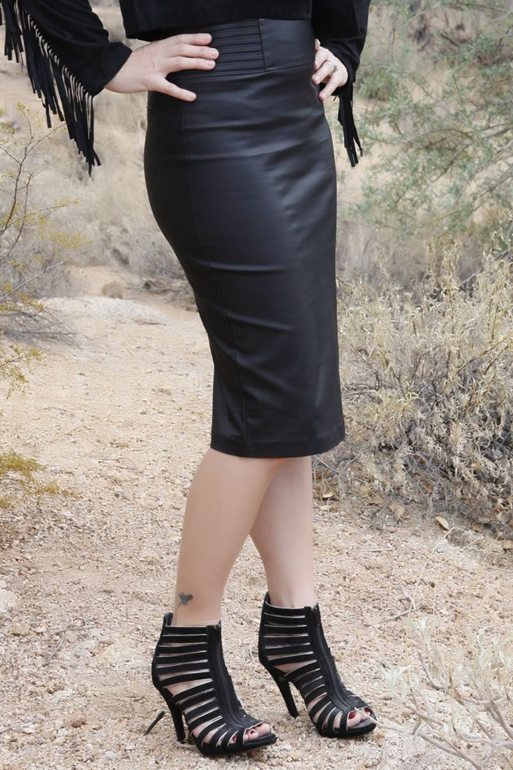 this washable faux leather pencil skirt is complete