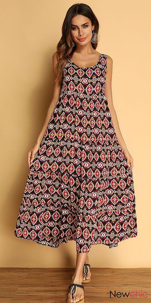 bc6af4dd4ad3 Women Bohemian Printed Sleeveless Summer Maxi Dresses. Brand of Gracila.  Casual fashion womens dress
