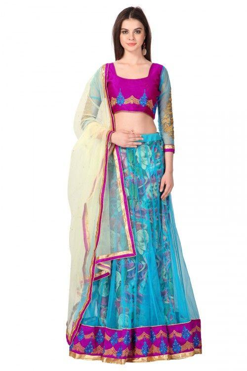 Blue Net Fusion Lehenga with Jaipuri Silk Net Choli and Cream Net Dupatta