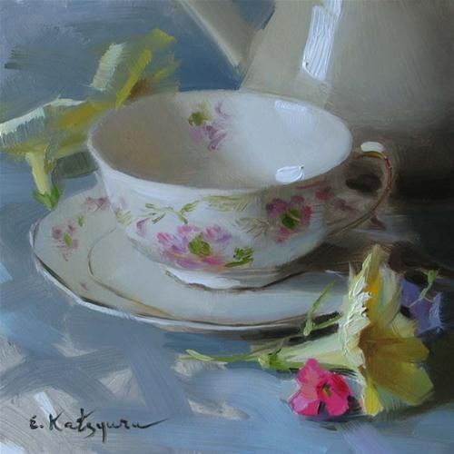 """Teacup and Petunias"" - Original Fine Art for Sale - © Elena Katsyura"