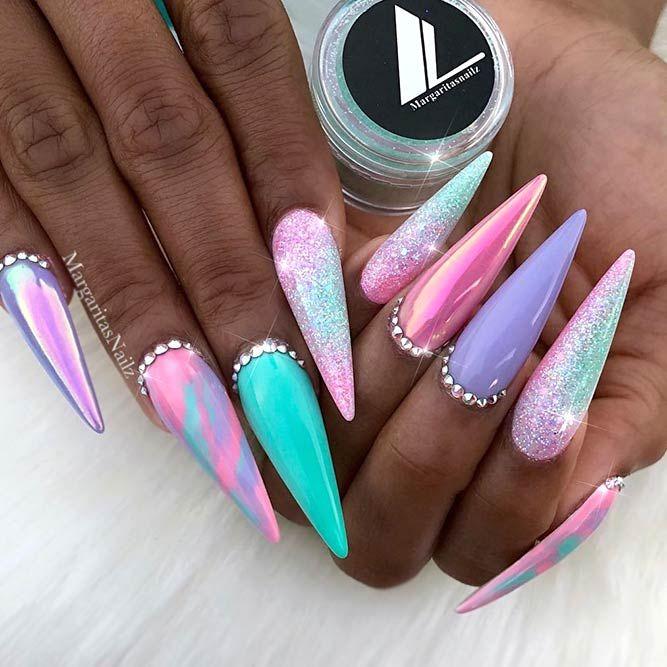 35 Leuchtende Neonfarben Ombre Nails Design – Nageldesign