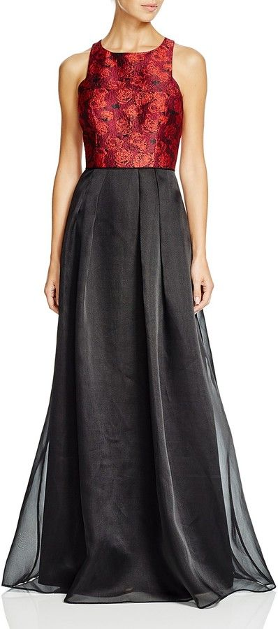 Aidan Mattox Sleeveless Jacquard Bodice U0026 Organza Skirt Gown   This Could  Be Perfect For A Gothic Wedding With The Right Accessories, The Jacquard  Bodice ...