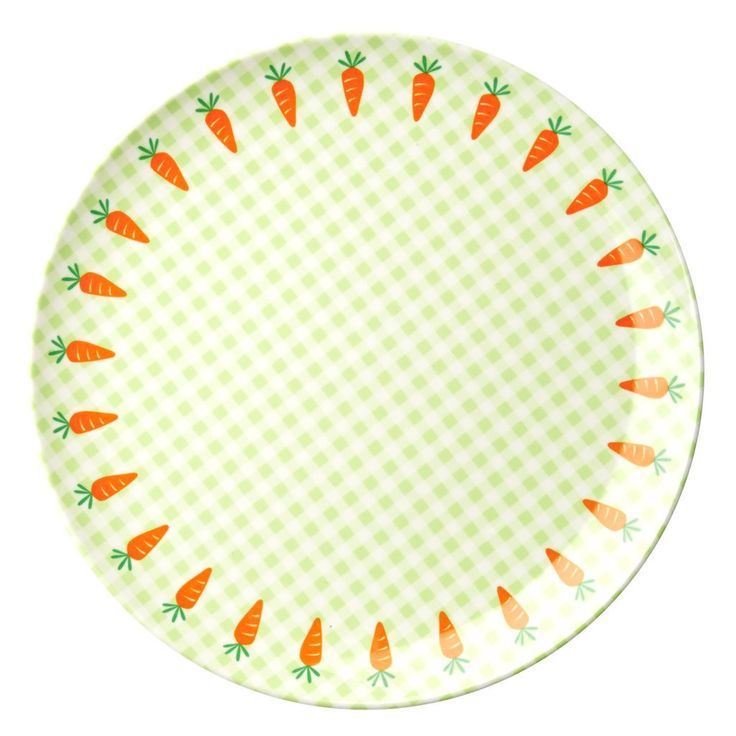 Carrots with Gingham Melamine Kids Plate by Rice DK, Offerd by Modern Rascals. Fun, Durable Kids Cups and Dishes.