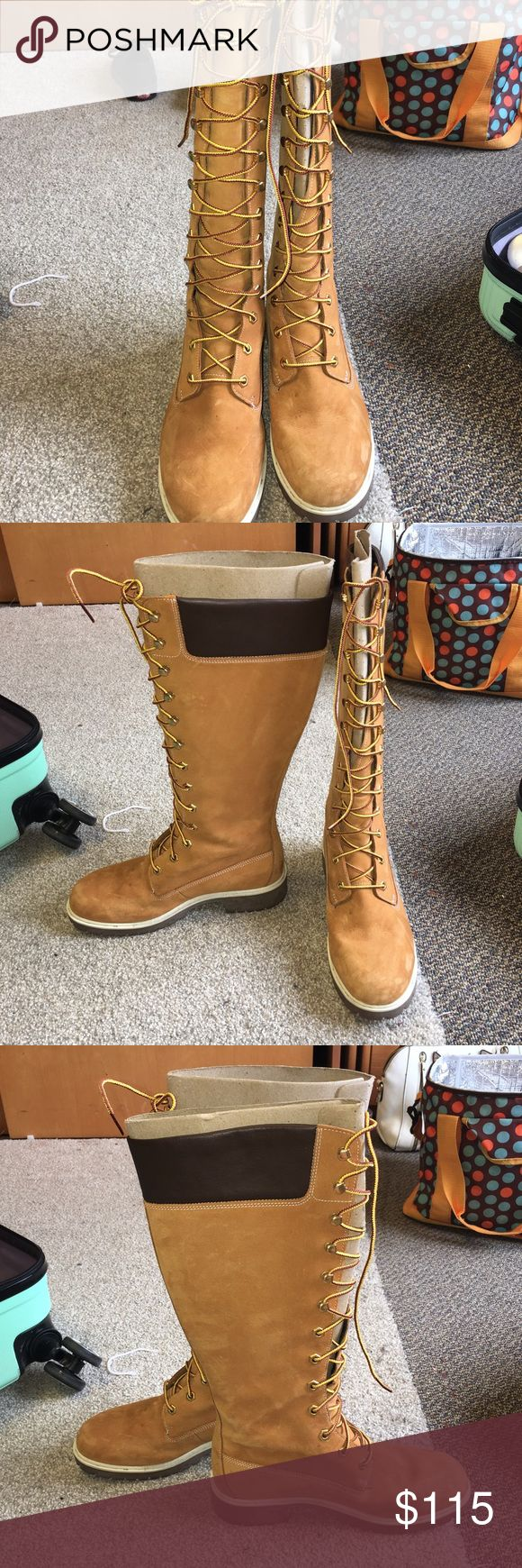 Knee High Timberland Boots Only worn a select amount of times! GREAT shape and NEED gone!! Size 7.5 Timberland Shoes Winter & Rain Boots