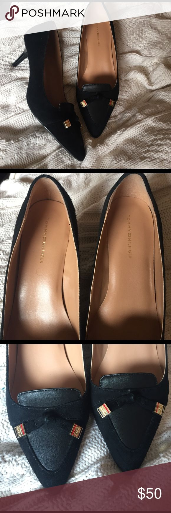 Tommy Hilfiger Juline pumps kitten heel suede chic Beautiful shoes in excellent condition. Only worn a couple of times. So chic and smart! They look great with capris or a pencil skirt. Black suede with leather accents. Good hardware that says Tommy Hilfiger Tommy Hilfiger Shoes Heels