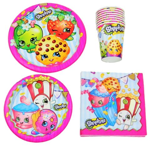 Shopkins Birthday Party Supplies Pack Bundle - Lunch Plates, Dessert Plates, Napkins, Cups @trendingtoystore.com
