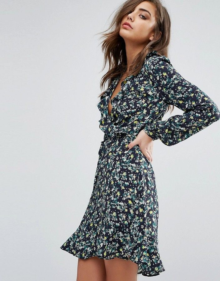 Miss Selfridge miss Selfridge Floral Ruffle wrap tea Dress