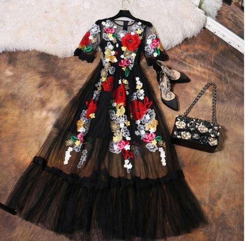 Luxurious black tulle dress with embroidered flowers | Роскошное черное фатиновое платье с вышитыми цветами