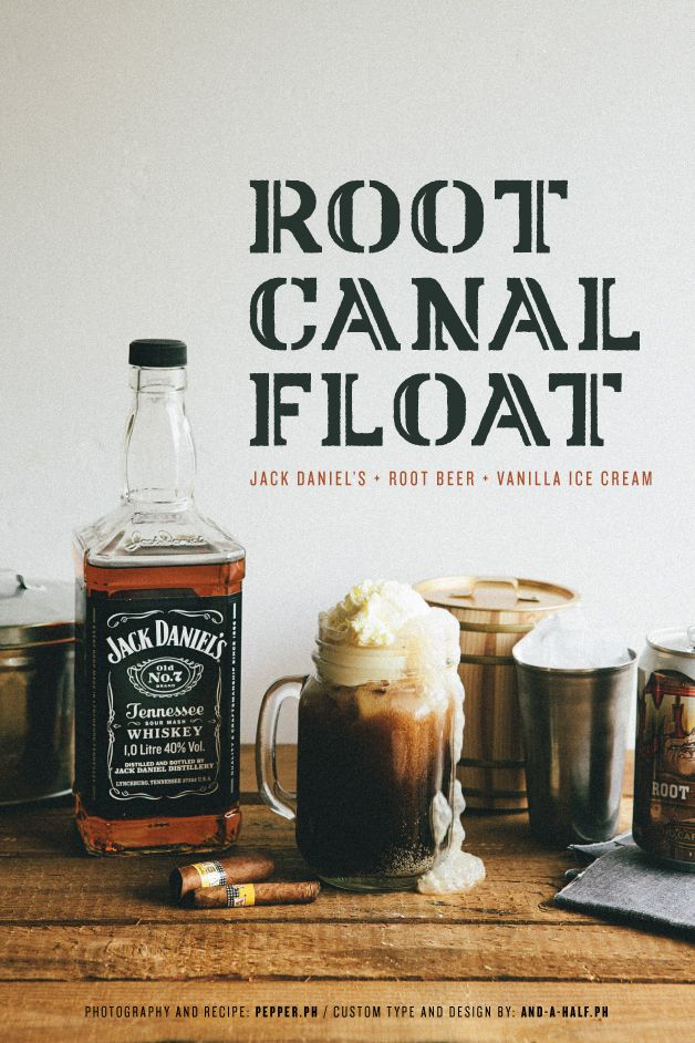 Root Canal Floot  1 can root beer, cold  2 shots or more of Jack Daniel's*  1 big scoop of vanilla ice cream  In a mug, pour shots of JD whiskey.  Add in root beer and stir for 5 seconds.  Top with vanilla ice cream. Serve immediately.    *Adjust the amount of alcohol depending on how much of a hit you want to achieve.