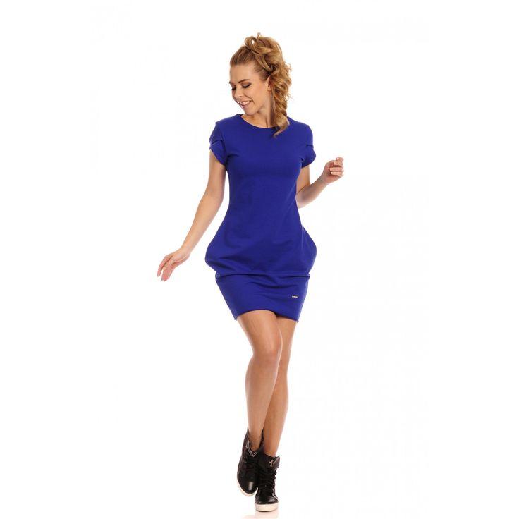 Rochie albastra casual scurta cu buzunare #rochiisport #rochiidezi #rochiicasual