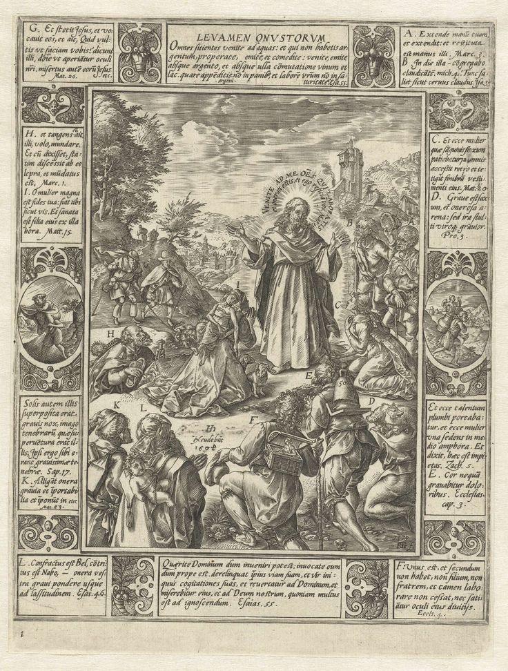 Hendrick Goltzius   Verlossing van het lijden, Hendrick Goltzius, 1604   Serie van tien (oorspronkelijk twaalf) allegorieën van het christelijke geloof. Elk van de allegorieën bestaat uit een centrale voorstelling met daaromheen een omlijsting waarin citaten uit de bijbel gecombineerd zijn met de verbeelding van bepaalde gebeurtenissen uit de bijbel. Onderaan het nummer 1.